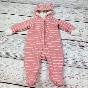 Old Navy Striped Fleece Hooded One Piece 3-6 M
